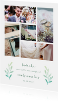 Trouwkaarten - Bedankkaart met fotocollage en takken