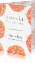 Rouwkaarten - Bedankkaart rode rozen stempels