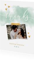 Trouwkaarten - Bedankkaart 'THANKS' met waterverf, gouden hartjes en foto