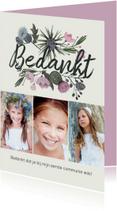 Communiekaarten - Bedankkaartje communie bloemen bouquet