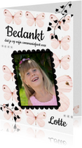 Communiekaarten - Bedankkaartje Eerste Communie met lieve roze vlinders