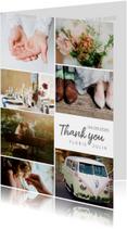 Trouwkaarten - Bedankkaartje huwelijk fotocollage 7 foto's