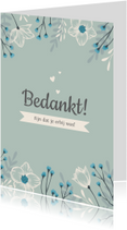 Communiekaarten - Bedankkaartje Lentefeest stijlvol en hip met bloemen