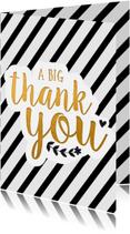 Bedankkaartjes - Bedankt - thank you in zwart/wit/goud