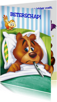 Beterschapskaarten - beterschap 1 beer in bed