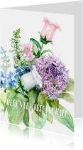Beterschapskaarten - Beterschapkaart met bloemen aquarel schilderij