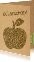 Beterschapskaarten - Beterschaps appel glitter look
