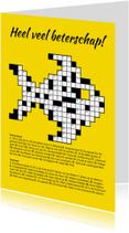 Beterschapskaarten - Beterschapskaartje kruiswoordpuzzel in de vorm van een vis