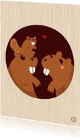 Dierenkaarten - Beverfamilie in de boom