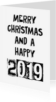 Kerstkaarten - Black & white text 2019