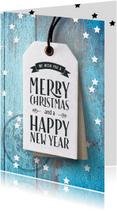 Zakelijke kerstkaarten - Blauwe zakelijke kerstkaart label