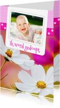 Doopkaarten - Bloemenkaart doop roze - BK