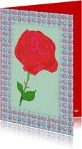 Bloemenkaarten - Bloemenkaart ik geef je een roos