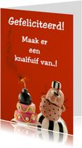 Verjaardagskaarten - Boef Brom met verjaardagstaart