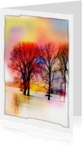 Sterkte kaarten - bomen met zonsopgang