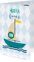 Verjaardagskaarten - Bootje met leeftijd en naam aanpasbaar