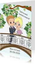 Felicitatiekaarten - Bruidspaar op brug- EvG