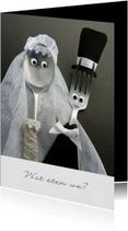 Menukaarten - Bruiloft Menukaart - bruidspaar