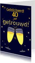 Felicitatiekaarten - Champagne Proost XX jaar getrouwd