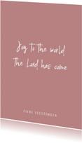 Kerstkaarten - Christelijke quote kerstkaart met oudroze achtergrond