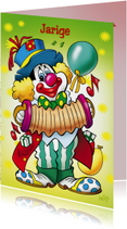 Verjaardagskaarten - clowns verjaardag 7 clown met accordeon