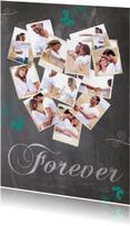 Trouwkaarten - Collage krijt hart 12foto's - BK