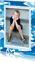 Communiekaarten - Communie bedankkaart blauw cammouflage