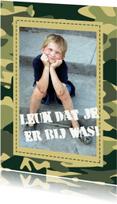 Communiekaarten - Communie bedankkaart groen camouflage