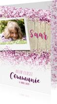 Communiekaarten - Communie lentefeest vormsel glitter eigen foto roze