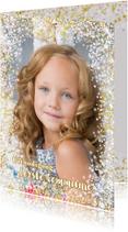 Communiekaarten - Communie stijlvolle fotokaart met hartjes en bloemen