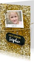 Communiekaarten - Communie vormsel goud glitter lentefeest eigen foto