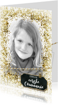 Communiekaarten - Communie vormsel lentefeest glitter kader label goud
