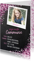 Communiekaarten - Communie vormsel lentefeest roze glitter krijtbord