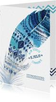 Communiekaarten - Communiekaart Boho veer indigo-aqua