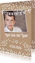 Communiekaarten - Communiekaart, confetti en kraft