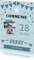 Communiekaarten - Communiekaart foto slinger confetti jongen