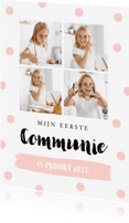 Communiekaarten - Communiekaart fotocollage confetti goud roze