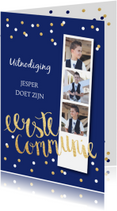 Communiekaarten - Communiekaart fotostrip confetti donkerblauw