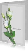 Condoleancekaarten - Condoleancekaart bloemen op grijze vlakjes