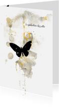Condoleancekaarten - Condoleancekaart geel zwart vlinder