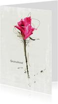 Condoleancekaarten - Condoleancekaart In Gedachten Roze Roos