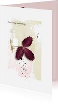 Condoleancekaarten - Condoleancekaart paars blad abstract