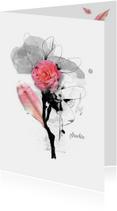 Condoleancekaarten - Condoleancekaart pink bloem blad