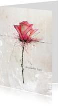 Condoleancekaarten - Condoleancekaart Roos Roze Gedachten