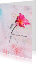 Condoleancekaarten - Condoleancekaart roze roos steun