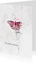 Condoleancekaarten - Condoleancekaart Roze Vlinder