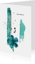 Condoleancekaarten - Condoleancekaart vaarwel bloem teal