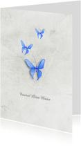 Condoleancekaarten - Condoleancekaart vaarwel kleine vlinder blauw
