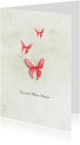 Condoleancekaarten - Condoleancekaart vaarwel kleine vlinder roze