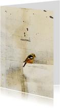 Condoleancekaarten - Condoleancekaart vogel op papier